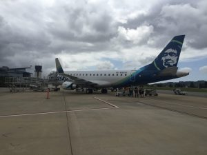 Alaska Airlines E175 Jet on ramp at SBP