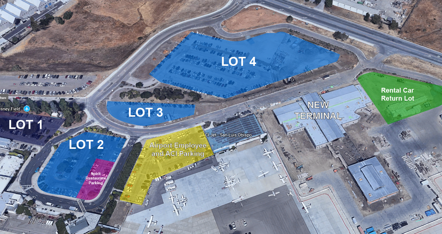 Map showing parking lot locations at SBP airport