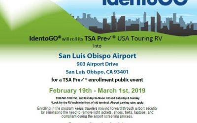 Additional TSA Pre✓® Mobile Enrollment RV Public Event provided by San Luis Obispo Airport
