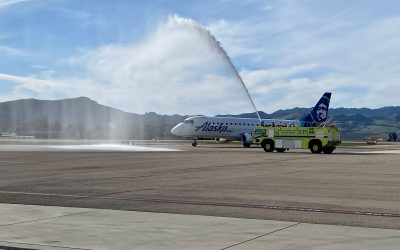 Alaska Airlines water cannon salute on the ramp at SBP